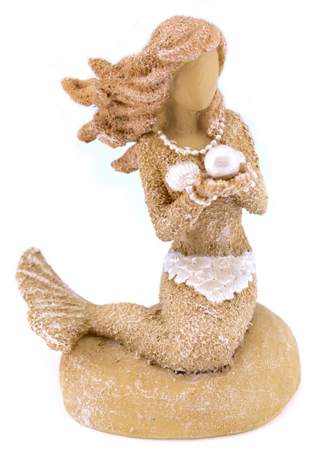 Beachcombers Sand and Shell Mermaid Holding Pearl Tabletop Figurine 3.25 Inches
