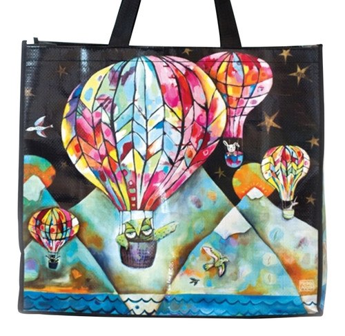 Allen Designs Hot Air Balloons Flying Up and Away Shopping Bag 17.75 Inches