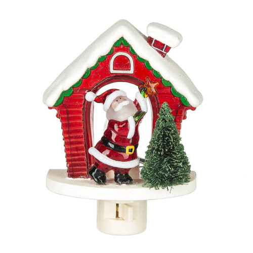 Santa Decorating Tree with Star Acrylic Christmas Holiday Night Light Electric