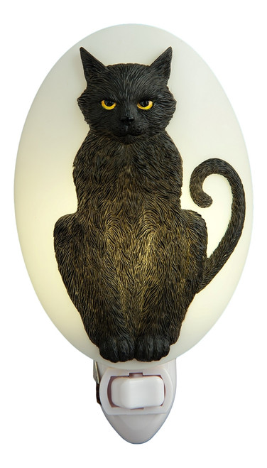 Sassy Black Kitty Cat Night Light Bonded Marble