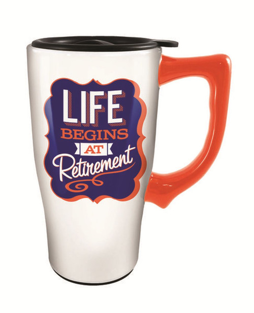 Life Begins at Retirement Ceramic Travel Mug with Lid 16 Ounce Coffee Tea Latte - Mary B ...