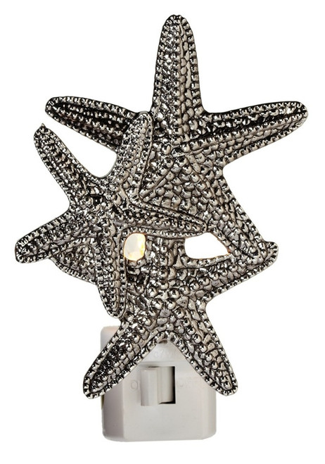 Trio of Silver Starfish Electric 7 Watt Night Light Replaceable Bulb