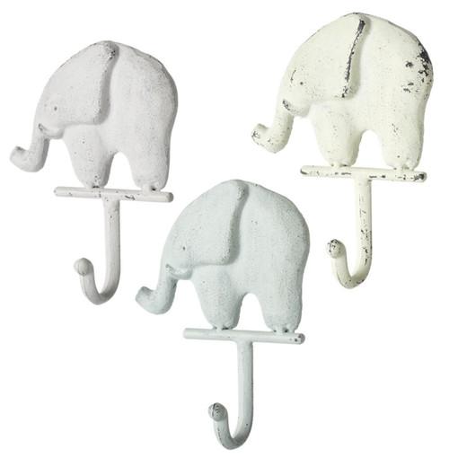Cream Blue and Gray Baby Elephants Single Wall Hooks Set of 3