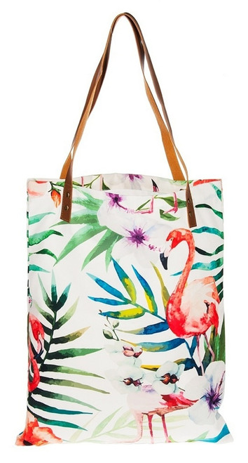 Tropical Flamingo Print Polyester Shopping Tote Bag