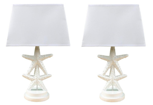White Stacked Starfish Electric Table Lamps 23 Inches Resin 60 Watt Set of 2