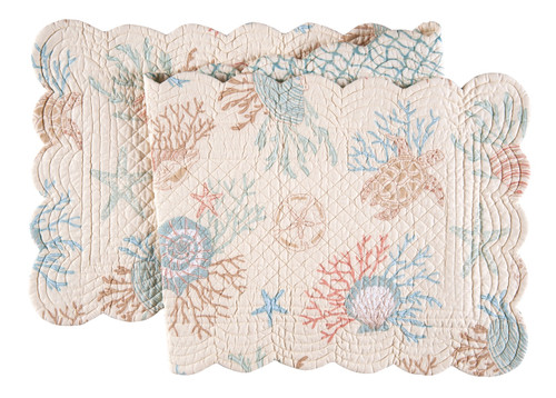 Seabrook Shells and Coral Quilted Reversible Table Runner 51 Inches