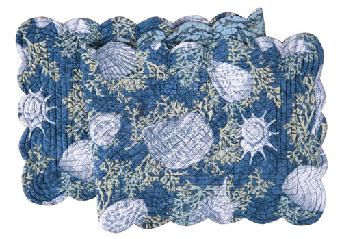 Cape Coral Blue Seashells and Coral Quilted Reversible Table Runner 51 Inch