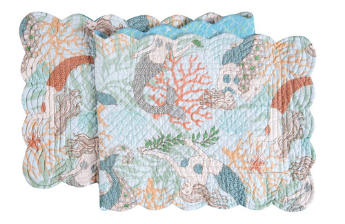 Dancing Waters Mermaids and Coral Quilted Reversible Table Runner 51 Inch
