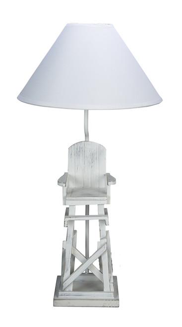 Beachy White Life Guard Chair Tabletop Lamp Electric 40 Watt
