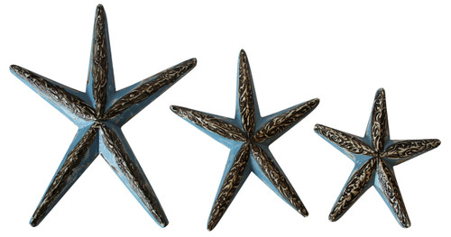 Carved Blue Starfish Wooden 8.75 Inches Set of 3