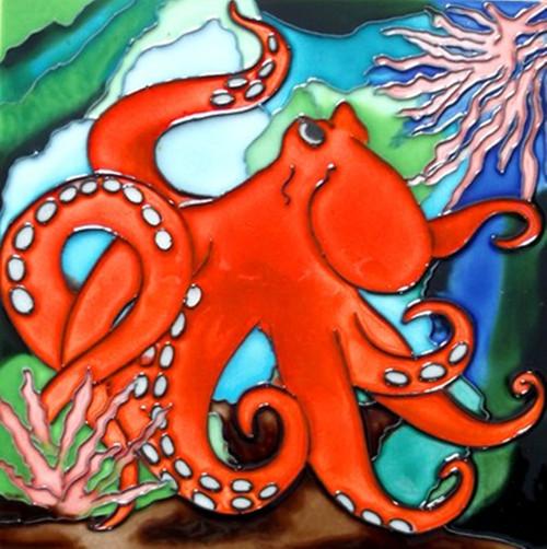 Orange Octopus in Ocean Coral Ceramic Tile 8 Inches