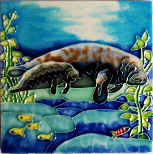 Manatee Mom and Baby Swimming Ceramic Tile 8 Inches