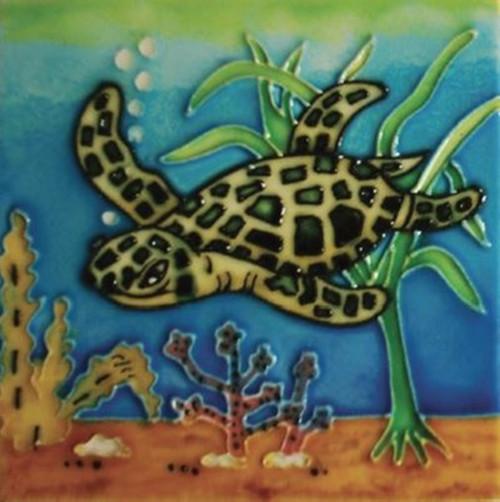 Green Sea Turtle Swimming in Ocean Watercolor Ceramic Tile 4 Inches