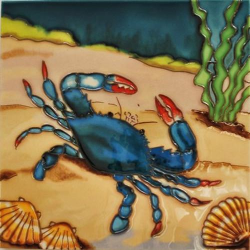 Blue Crab with Seashells Ceramic Tile 8 Inches