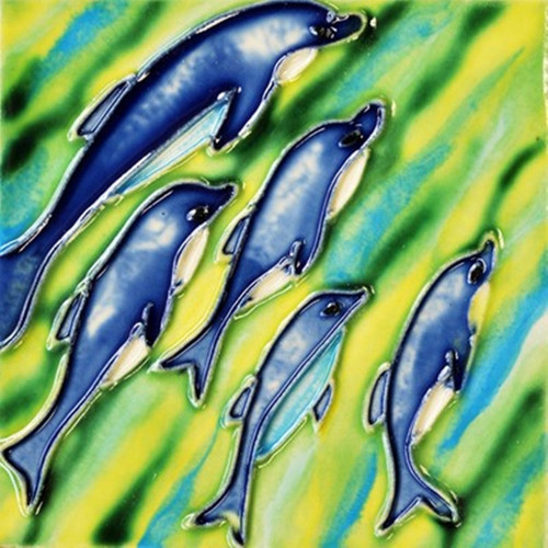 Blue Dolphins Playing Ceramic Tile 8 Inches