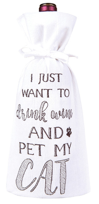 I Just Want to Drink Wine and Pet My Cat Drawstring Wine Bottle Gift Bag