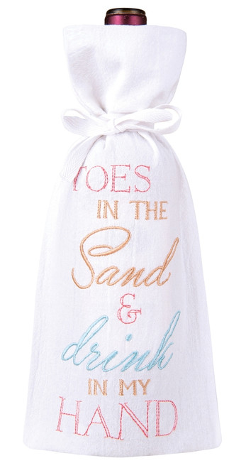 Toes in the Sand and Drink In My Hand Drawstring Wine Bottle Gift Bag
