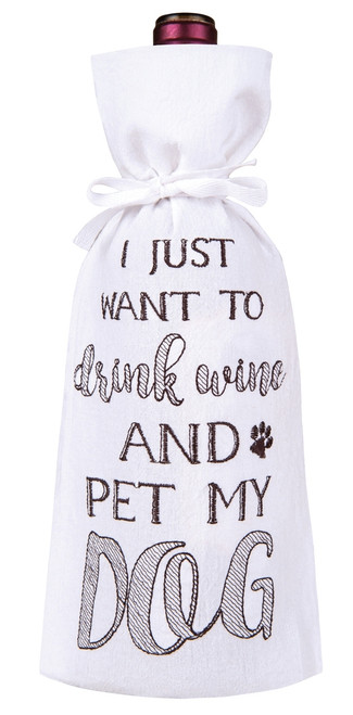 I Just Want to Drink Wine and Pet My Dog Drawstring Wine Bottle Gift Bag