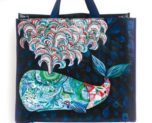 Allen Designs Spouting Whale of a Good Time Shopping Bag 17.75 Inches