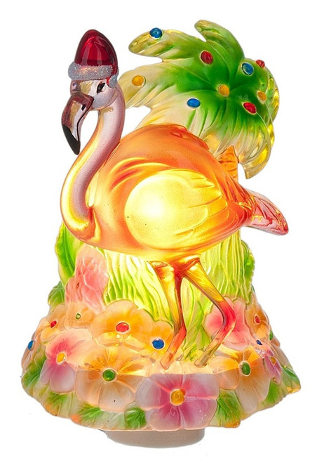 Flamingo Wearing Santa Hat and Decorated Palm Tree Night Light Electric