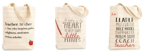 Teacher Definition It Takes a Big Heart Leader Motivator Canvas Totes Set of 3