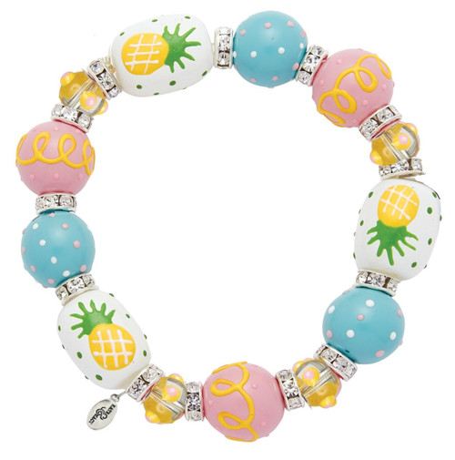 Posh Pineapple Rhinestone Glass Beaded Kate and Macy Stretch Bracelet