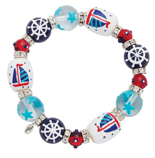 Set Sail Rhinestone Glass Beaded Kate and Macy Stretch Bracelet