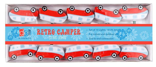 Red and White Camper Electric String Lights 10 Count Retro Look