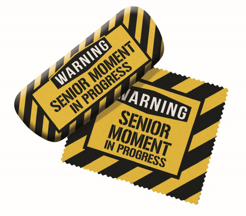 Warning Senior Moment Eyeglass Reading Glasses Case and Lens Cloth