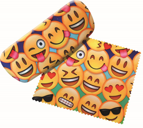 Fun Emojis Eyeglass Reading Glasses Case and Lens Cloth