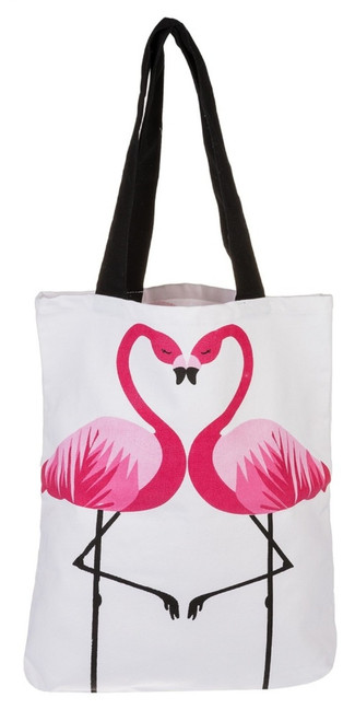 Flamingo Love Megan Cotton Tote Shopping Bag 15X14 Inches
