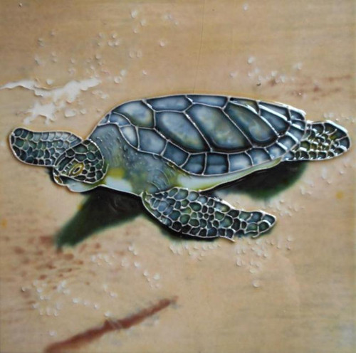 Baby Turtle Crawling to Sea 4X4 Inch Ceramic Tile