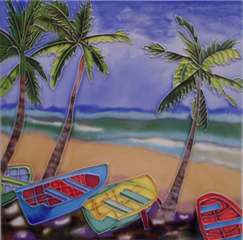 Palm Tree and Rowboats at the Coast 4X4 Inch Ceramic Tile