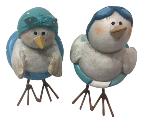 Boy and Girl Beach Birds with Pool Floats Tabletop Figurines Set of 2