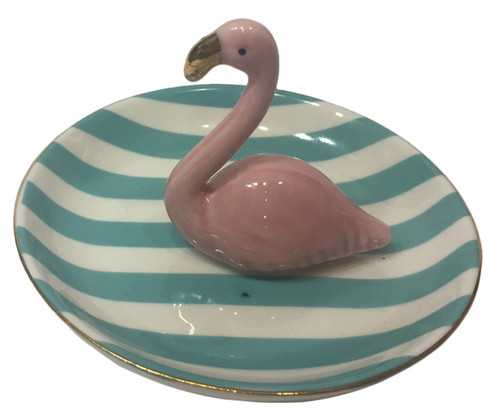 Pink Flamingo with Blue Stripes Jewelry or Ring Holder Dish Ceramic