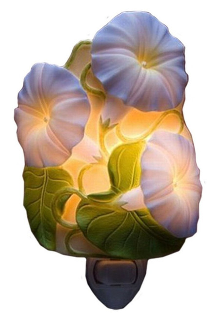 Purple Morning Glory Flowers Night Light Bonded Marble Electric