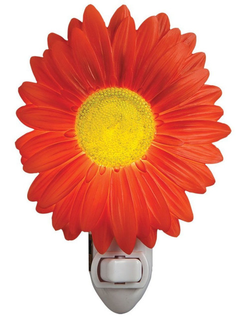 Red Painted Daisy Flower Night Light Bonded Marble Electric