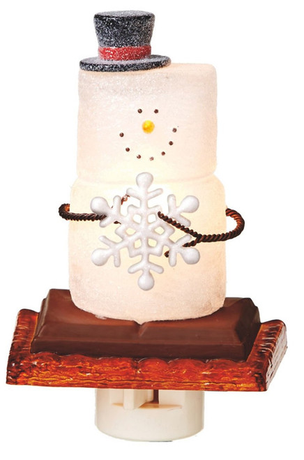 Smores Snowman Holding A Snowflake Night Light Electric