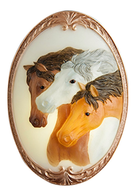 Trio of Running Horses Night Light Bonded Marble Electric