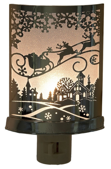 Santa in Sleigh Holiday Silhouette Design Night Light Electric