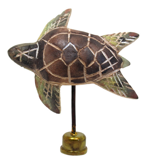 Sea Turtle Lamp Finial Hand Carved Painted Wood