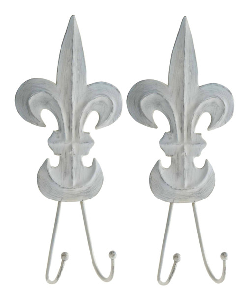 Shaped French Gray Fleur de Lis Distressed Tin Double Hooks Set of 2 Mud Pie