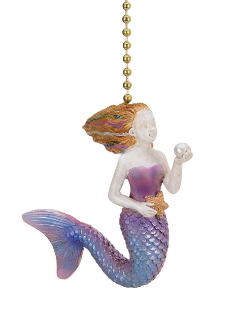 Seaside Mermaid Holding a Pearl Ceiling Fan Light Dimensional Pull