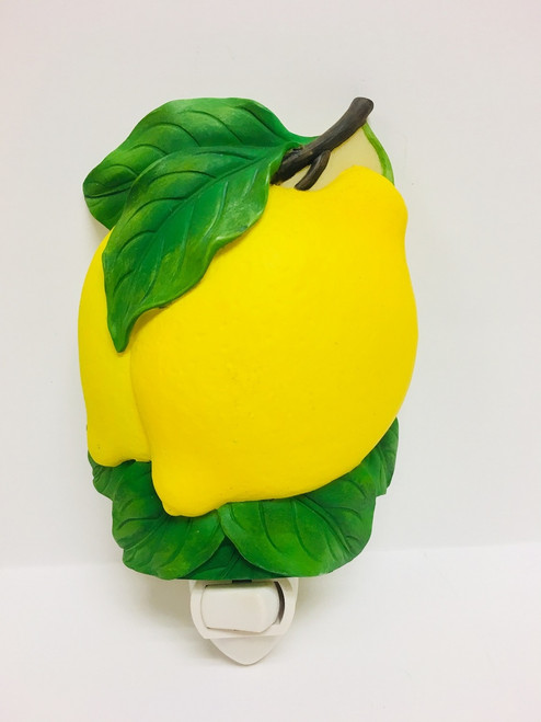 Sunny Yellow Lemons Hand Painted Night Light Bonded Marble