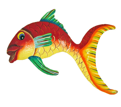 Tropical Fish Big Tail Wall Decor Haitian Metal