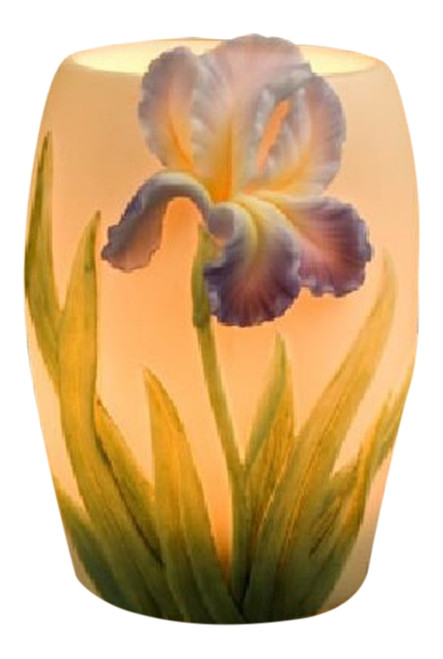 Bearded Purple Iris Electric Table Night Lamp 15 Watt Bonded Marble 5 Inch