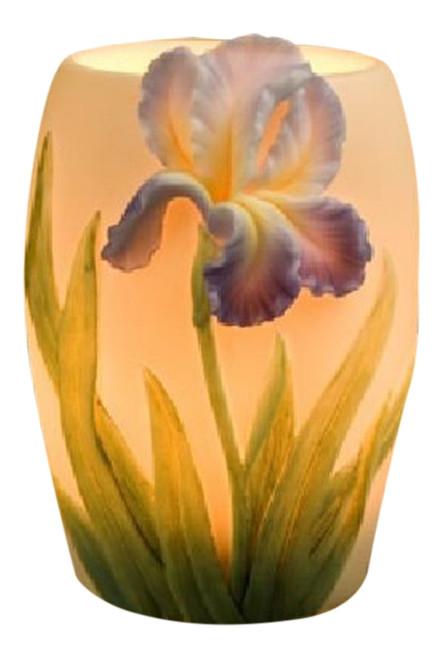 Bearded Purple Iris Electric Table Night Lamp 15 Watt Bonded Marble 5 Inch