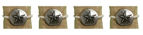 Sand Dollar and Rope Napkin Rings Coastal Set of 4 Embossed Metal