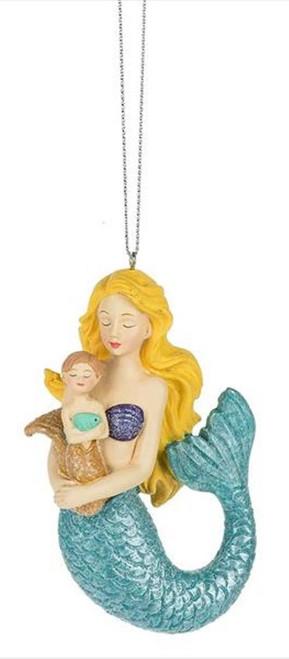Mermaid Cuddling Baby Mermaid Christmas Holiday Ornament Resin