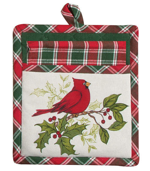 Cherry Red Cardinal Plaid Two Piece Kitchen Towel and Mitt Gift Set